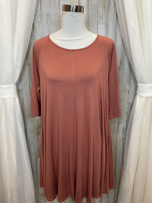 Ces Femme Salmon Dress w/Pockets - L