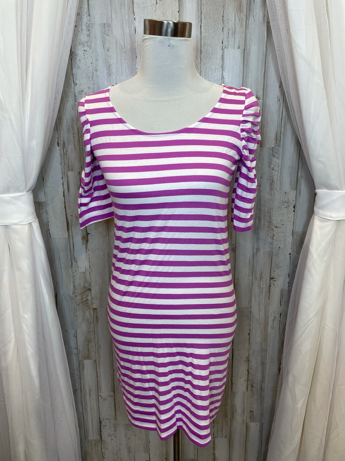 Lilly Pulitzer Purple & White Striped Casual Dress - S