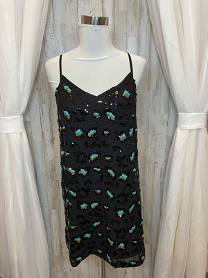 French Connection Black Sequence Leopard Dress - Size 8