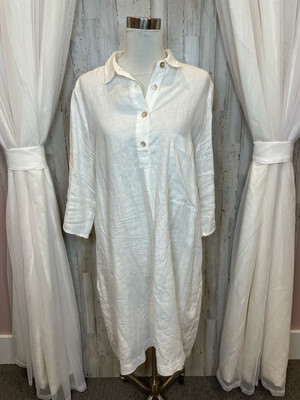 EtiCi White Linen Dress - XXL