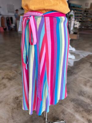 MUMU Barbie Colorful Striped Wrap Skirt - S