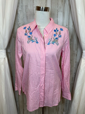 Draper James Pink Gingham Top w/Floral Embroidery - Size 8