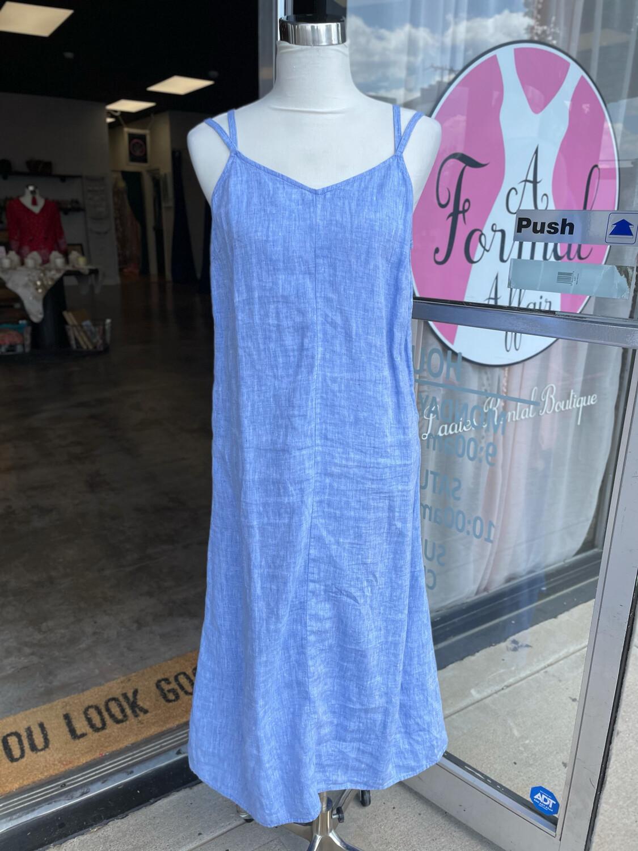 Antibes Blanc Blue Linen Dress - S