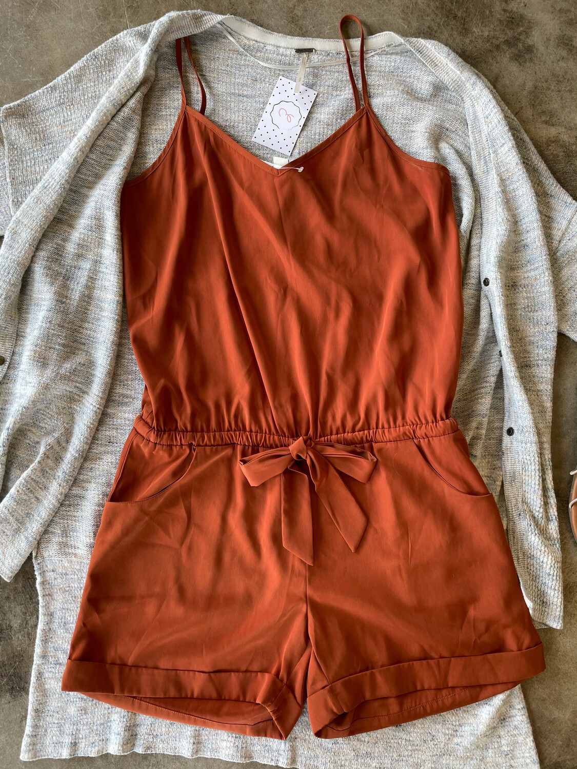 J. Crew Congac Belted Stappy Romper - XS