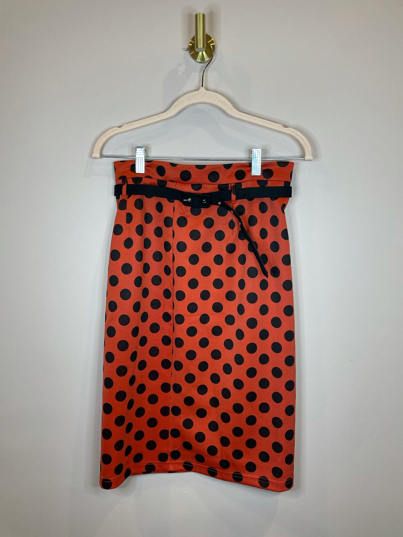Ezra Orange & Black Polka Dot Belted Skirt - M