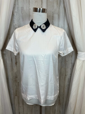 Draper James White Top w/Sequence Collar Accent - Size 6