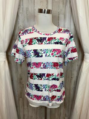 Draper James White Striped Colorful Floral Top - L