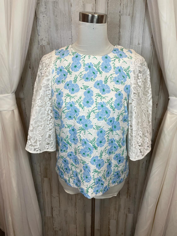 Draper James White Lace Top w/Blue Floral Print - Size 6