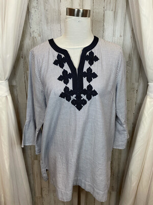 Sheragano Blue & White Striped & Embroidered Top - L
