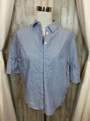 Draper & James Blue & White Stripe Top w/Ruffle Sleeve - Size 8