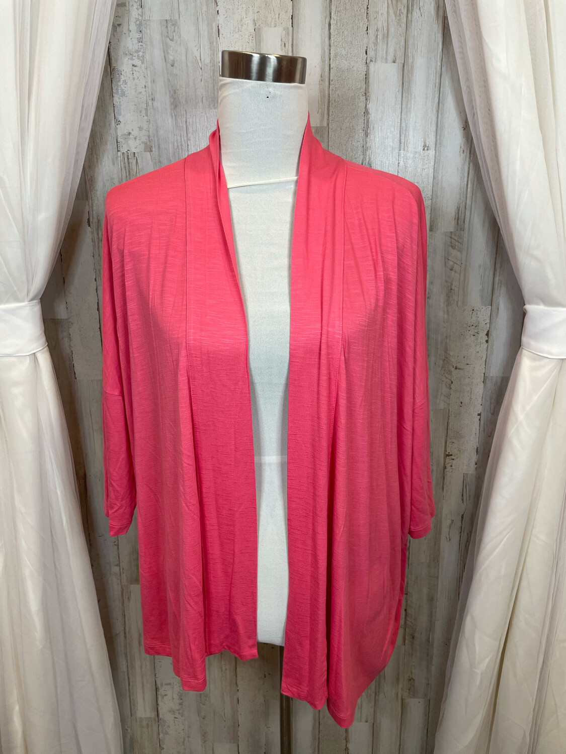 Chico's Pink Cropped Sleeve Casual Cardigan - M