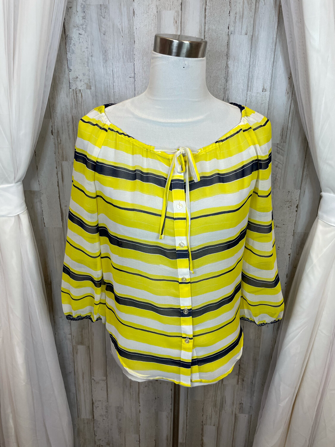 Ann Taylor Sheer Yellow & Navy Striped Top - XS