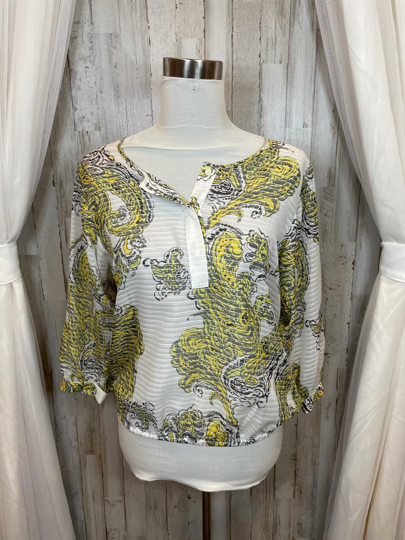 Ann Taylor White Sheer Top w/ Black & Yellow Pattern - XS
