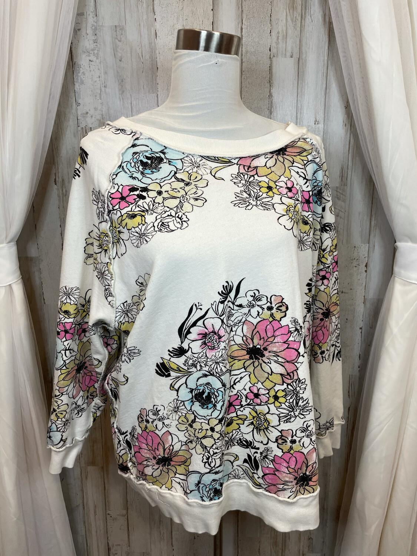 Free People Cream Colorful Floral Sweatshirt - XS