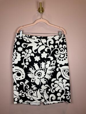 Talbots Black & White Floral Print  Skirt  - Size 10