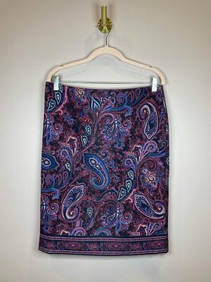 Talbots Wine Demask Print Skirt - Size 8