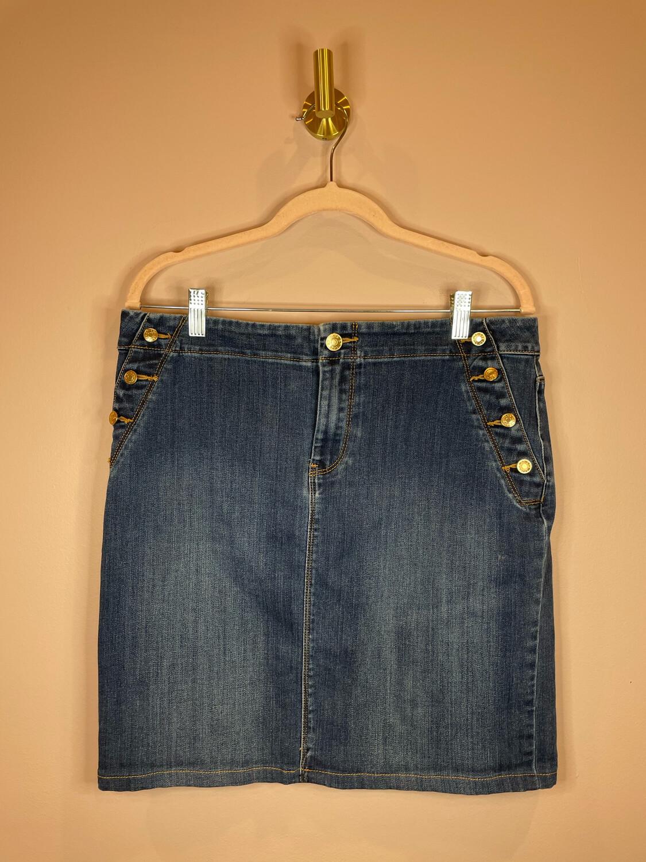 Chico's Denim Skirt w/Gold Button Accent - Size 1.5
