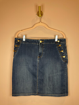 Chico's Denim Skirt w/Gold Button Accent - Size 1.5