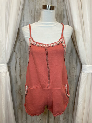 FP One Salmon Romper w/Embroidered Trim - S