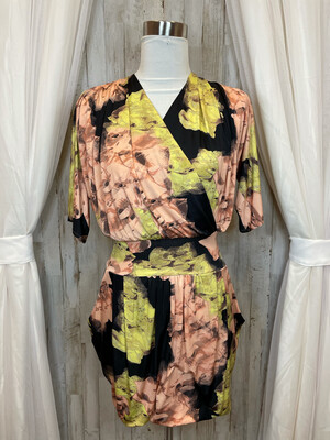 T-Bags Los Angeles Black Dress w/Peach & Yellow Flowers - M