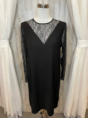Worth New York Black Dress w/Lace Accent - Size 8