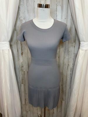 Sandro Grey Fitted Dress w/ Pleats - S