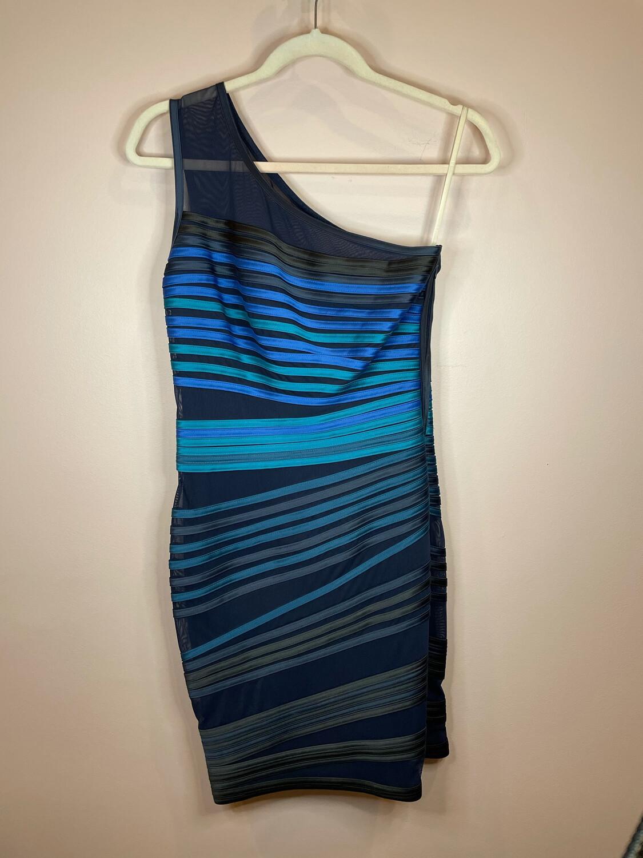 Halston Heritage Black Blue & Green Striped Cocktail Dress - Size 4