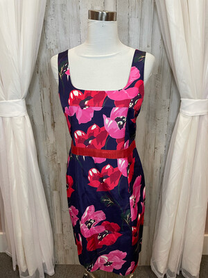 Draper James Navy Floral Dress w/Red Ribbon Accent - Size 8