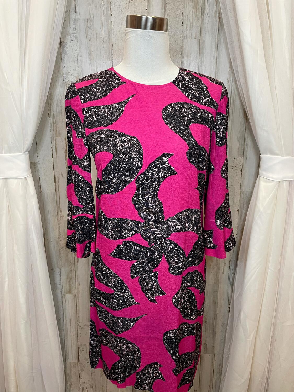 Draper James Pink Dress w/Black Lace Print - Size 8