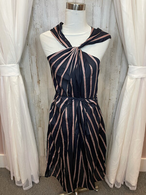 Vince. Navy Twisted Neck Dress w/Stripe Accent - S