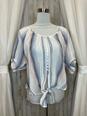 Karen Lane White Multicolor Striped Top w/Buttons - L