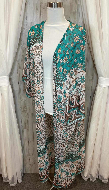 Green, Brown, & Peach Long Floral Cardigan - OS