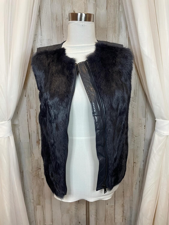 Vince. Black Leather & Rabbit Fur Vest Zip Vest - S