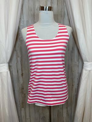 Chico's Pink & White Striped Tank - M