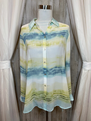 Chico's Green & Blue Sheer Top - Size 2