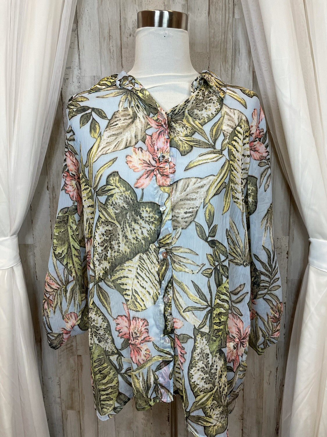 Chico's Blue Sheer Top w/Fern & Floral Print - Size 2