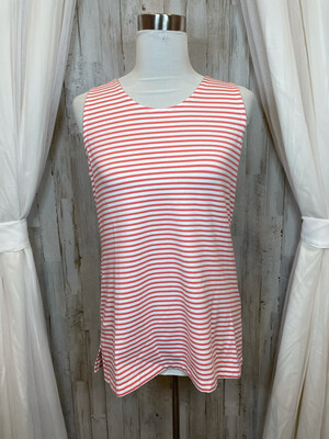 Zenergy By Chico's Pink & White Striped Tank - L