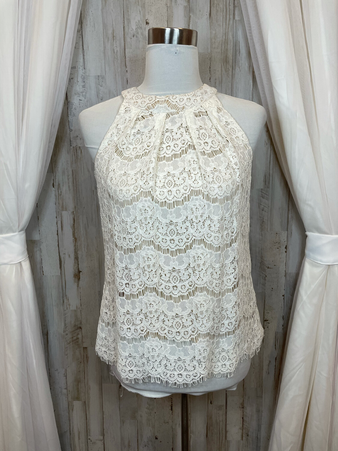 Rose & Olive Cream Lace Tank - S