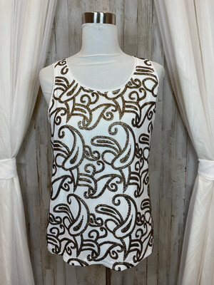 Chico's White Tank w/Gold Sequence Accent - Size 1