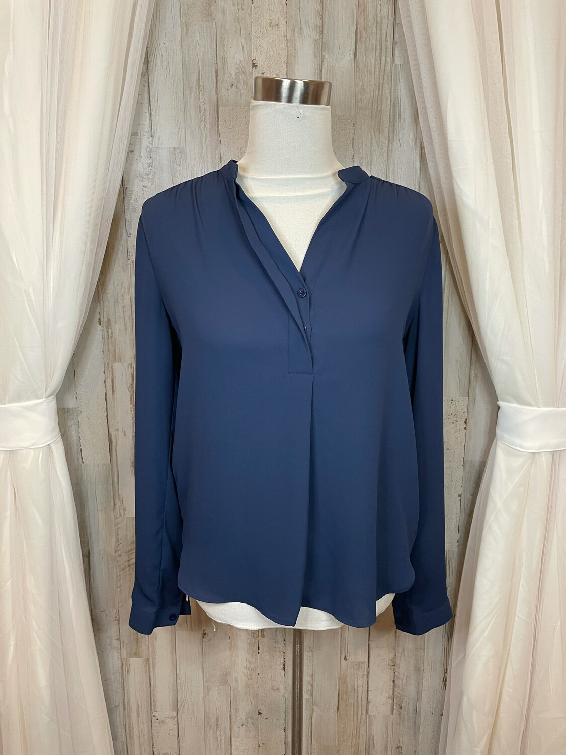Lumiere Navy Top w/Pleated Accent at Shoulder - S
