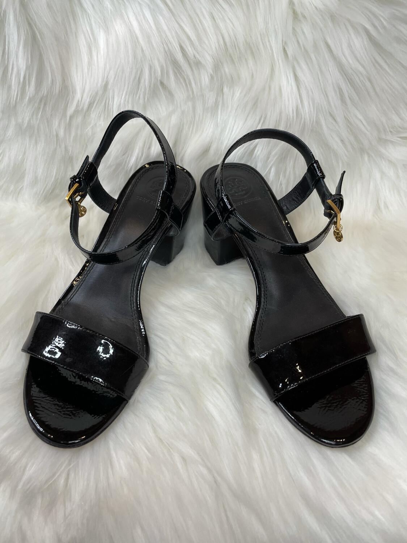 Tory Burch Black Patent Leather Block Heel Sandals - Size 8