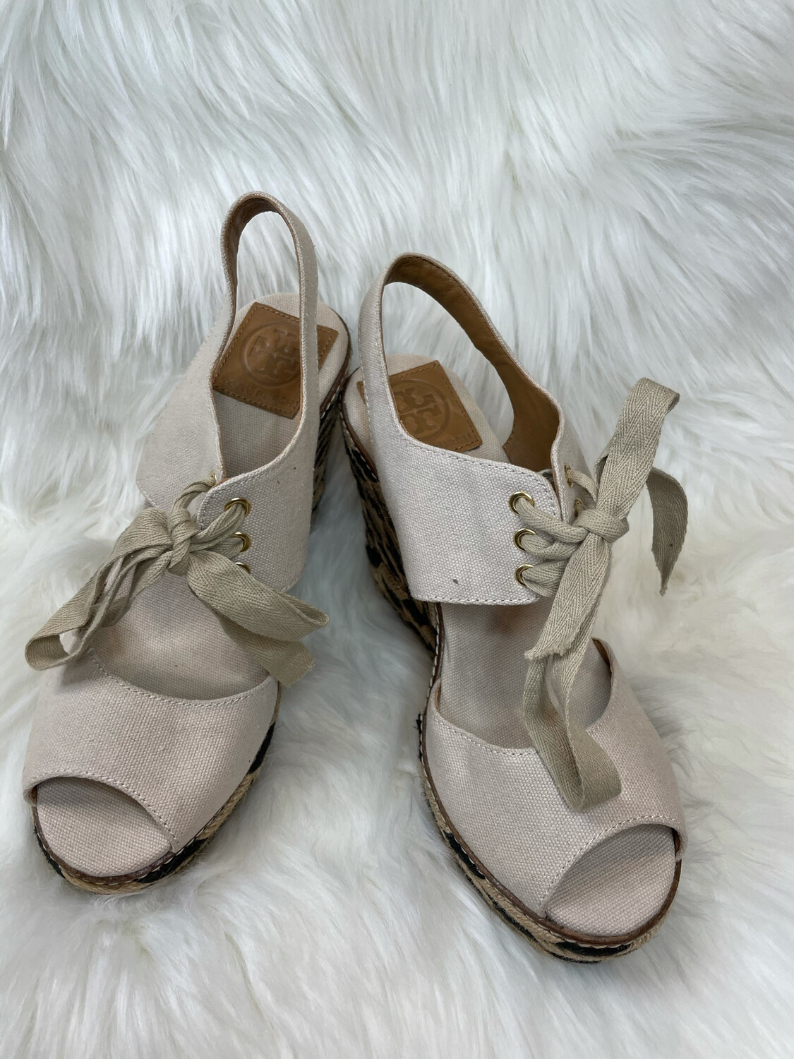 Tory Burch Cream & Black Lace Up Wedges - Size 8