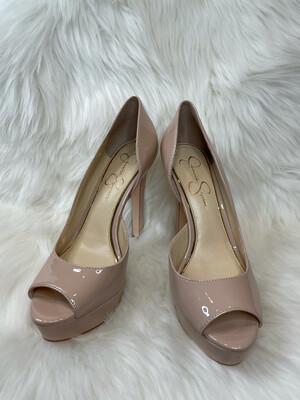 Jessica Simpson Nude Patent Leather Heels - Size 8