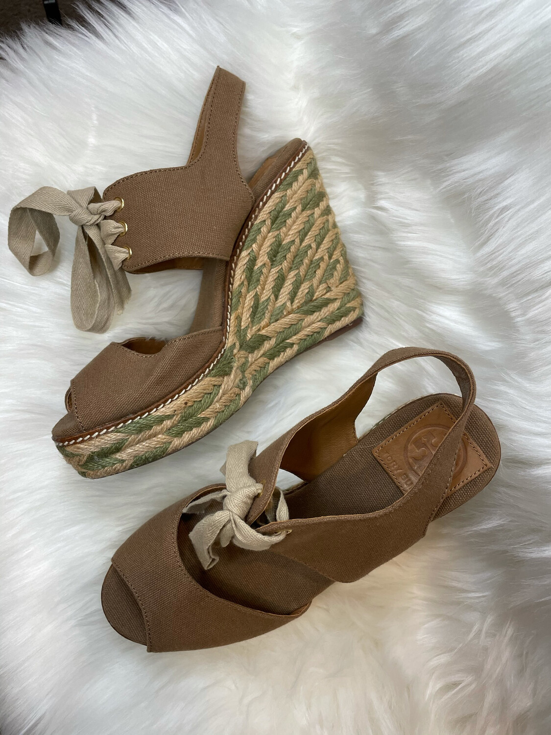 Tory Burch Brown & Green Lace Up Wedges - Size 8