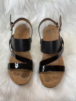 Comfortiva Black Patent Leather Sandal Wedges - Size 9