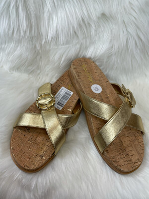 Lilly Pulitzer Gold Metallic Crossover Sandals - Size 10