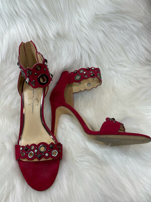 Jessica Simpson Red Embellished Ankle Strap Heels - Size 8