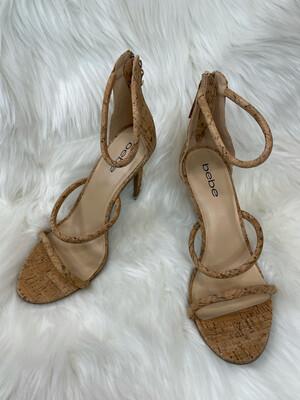 Bebe Cork Strappy Sandal Heels - Size 8