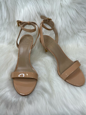 Tory Burch Nude Patent Leather Ankle Strap Heels - Size 8