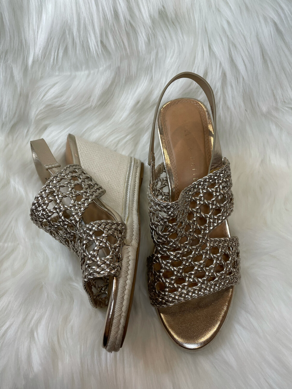 Kelly & Katie Metallic Gold Slingback Wedges - Size 8